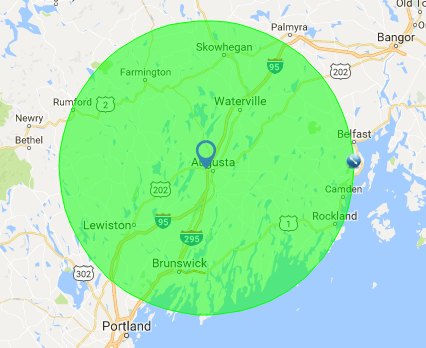 Map showing 40 mile radius of Kennebec Valley Inddor Golf, Augusta, Maine.
